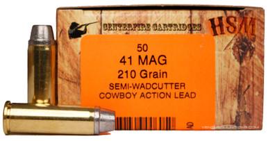 HSM 41 Magnum 210gr SWC-H Ammo - 50 Rounds