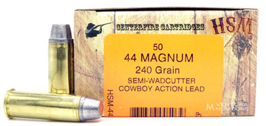 HSM 44 Magnum 240gr SWC-H Ammo - 50 Rounds