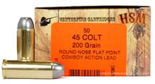 HSM 45 Long Colt 200gr RNFP-H Ammo - 50 Rounds