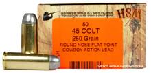 HSM 45 Long Colt 250gr RNFP-H Ammo