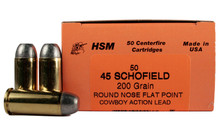 HSM 45 Schofield 200gr RNFP-H Ammo - 50 Rounds