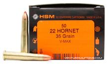 HSM 22 Hornet 35gr V-MAX Ammo - 50 Rounds