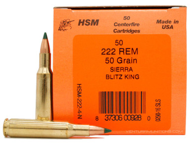 HSM 222 Remington 50gr Blitzking Ammo - 50 Rounds