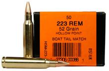 HSM 223 Remington  52gr BTHP Ammo - 50 Rounds