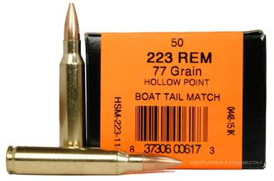 HSM 223 Remington 77gr BTHP Match Ammo - 50 Rounds