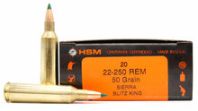 HSM 22-250 Remington 50gr Blitzking Ammo - 20 Rounds