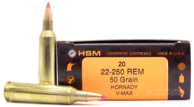HSM 22-250 Remington 50gr V-MAX™ Ammo - 20 Rounds