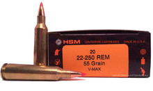 HSM 22- 250 Remington 55gr V-MAX™ Ammo - 20 Rounds