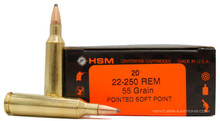 HSM 22-250 Remington 55gr PSP Ammo - 20 Rounds