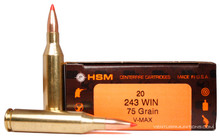 HSM 243 Winchester 75gr V-MAX™ Ammo- 20 Rounds