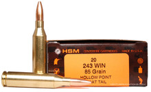 HSM 243 Winchester  85gr BTHP Ammo - 20 Rounds