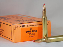 HSM 6 MM Remington 75gr V-MAX™ Ammo - 20 Rounds