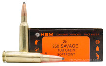 HSM 250 Savage 100gr SP Ammo - 20 Rounds