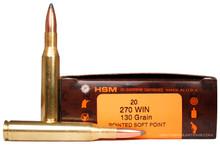 HSM 270 Winchester 130gr  BTSP Ammo- 20 Rounds