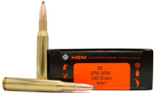 HSM 270 Winchester 150gr - BTSP Ammo - 20 Rounds