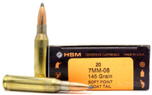 HSM 7mm-08 Remington 145gr BTSP Ammo - 20 Rounds
