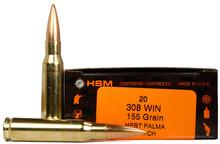 HSM 308 Winchester 155gr BTHP Sierra Matchking Palma Ammo - 20 Rounds