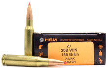 HSM 308 Winchester 155gr A-MAX® Ammo - 20 Rounds