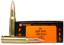HSM 308 Winchester 168gr  BTHP Match Ammo - 20 Rounds