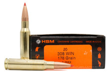 HSM 308 Winchester 178gr A-MAX® Ammo - 20 Rounds