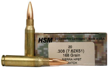 HSM 7 62x51mm 168gr BTHP Sierra Match Ammo - 20 Rounds