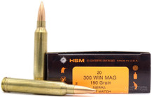 HSM 300 Winchester Magnum 190gr BTHP Ammo - 20 rounds