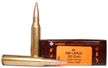 HSM 338 Lapua  250gr  BTHP Match Ammo - 20 Rounds