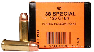 HSM 38 Special 125gr  Copper Bonded HP Ammo - 50 Rounds