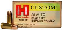 Hornady 25 ACP 35gr JHP/XTP Ammo - 25 Rounds