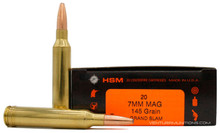 HSM 7mm Remington Magnum 145gr Grand Slam Ammo - 20 Rounds