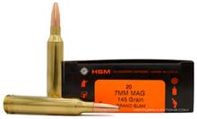 HSM 7mm Remington Magnum 145gr Grand Slam Ammo - 20 Rounds