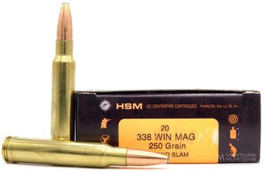 HSM 338 Winchester Magnum 250gr Grand Slam SP Ammo - 20 Rounds