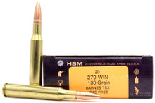 HSM 270 Winchester 130gr TSX BT Lead-Free Ammo - 20 Rounds