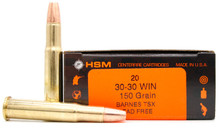 HSM 30-30 Winchester 150gr TSX FN Lead-Free Ammo - 20 Rounds