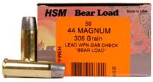 HSM 44 Magnum 305gr WFN Bear Load Ammo - 50 Rounds