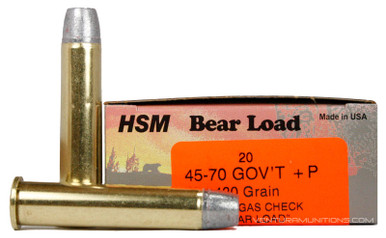 HSM 45-70 Government 430gr RNFP +P Bear Load Ammo - 20 Rounds