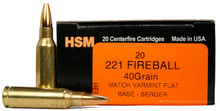 HSM 221 Remington Fireball 40gr FB Ammo - 20 Rounds
