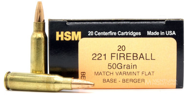 HSM 221 Remington Fireball 50gr Berger Varmint HP Flat Base Ammo - 20 Rounds