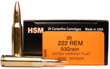 HSM 222 Remington 50gr Match Varmint FB Ammo - 20 Rounds