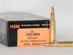 HSM 223 Remington  40gr  FB Ammo - 20 Rounds