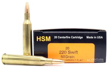 HSM 220 Swift 50gr Match Varmint FB Ammo - 20 Rounds