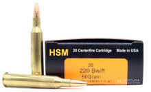 HSM 220 Swift 50gr Match Varmint FB Ammo - 20 Rounds
