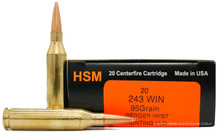 HSM 243 Winchester 95gr VLD Ammo - 20 Rounds
