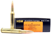 HSM 270 Winchester 130gr VLD Ammo - 20 Rounds