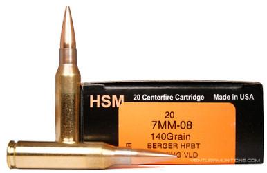 HSM 7mm-08 Remington 140gr VLD Ammo - 20 Rounds