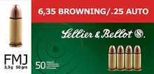 Sellier & Bellot 25 ACP 50gr FMJ Ammo - 50 Rounds