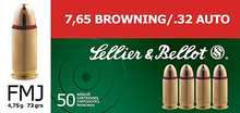 Sellier & Bellot 32 ACP 73gr FMJ Ammo - 50 Rounds