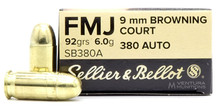 Sellier & Bellot 380 ACP 92gr FMJ Ammo - 50 Rounds