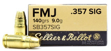 Sellier & Bellot 357 SIG 140gr FMJ Ammo - 50 Rounds