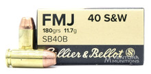 Sellier & Bellot 40 S&W 180gr FMJ Ammo - 50 Rounds